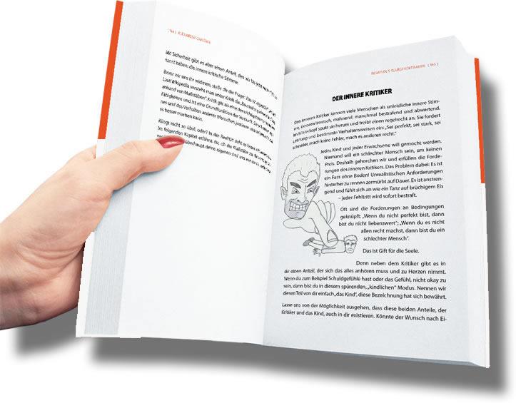 Gesundes Selbstvertrauen offenes Buch